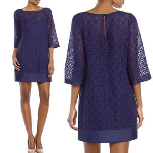Laundry Shelli Segal navy blue lace shift dress 6